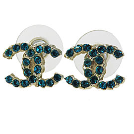 Chanel Gold Tone Hardware with Rhinestone CC Logo Pierce Earrings