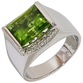 Zoccai 18K White Gold Diamond, Peridot Ring Size 6.75