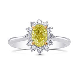 Leibish 18K White and Yellow Gold Fancy Yellow Oval Diamond Floral Halo Ring Size 6.50