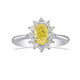 Leibish 18K White and Yellow Gold Fancy Yellow Oval Floral Diamond Halo Ring Size 6.5