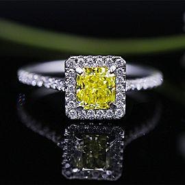 Classic Elegant Platinum engagement ring with center 1.05 Radiant Fancy Yello...