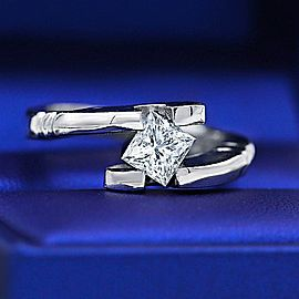 Solitaire Engagement ring with Certified 1.01ct Princess cut Diamond ENG-172750
