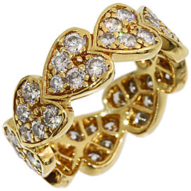 Cartier 18K Yellow Gold Diamond Heart Ring Size 3.75
