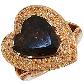 Mauboussin 18K Rose Gold Smoky Quartz Ring Size 6.25