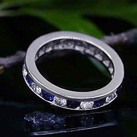 14k White Gold Channel Set Blue Sapphires and Diamond Band Size 7.5