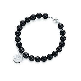 Tiffany & Co. Paloma Picasso Sterling Silver Onyx Loving Heart Bracelet