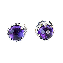David Yurman Chatelaine Sterling Silver Amethyst Earrings