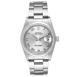 Rolex Datejust 36 Rhodium Roman Dial Domed Bezel Steel Mens Watch 16200