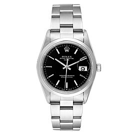 Rolex Date Black Dial Oyster Bracelet Steel Mens Watch 15200