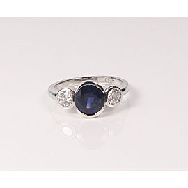 Vintage Natural Blue Sapphire Diamond Platinum Bezel Set Ring