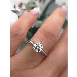 Leo Diamond Engagement Ring Round 1.00 CTS H SI2 14K White Gold