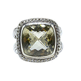 David Yurman Albion 925 Sterling Silver Prasiolite & Diamond Ring Size 6