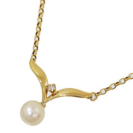 Mikimoto 18K Yellow Gold Cultured Pearl, Diamond Pendant