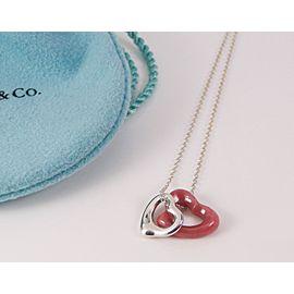 Tiffany & Co. Elsa Peretti Sterling Silver Pink Rhodonite Open Heart Pendant Necklace