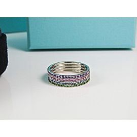 Tiffany & Co. 18K White Gold with Iolite Metro Full Eternity Band Ring Size 9