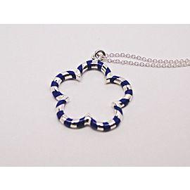 Tiffany & Co. Paloma Picasso Sterling Silver Blue Enamel Palina Flower Pendant Necklace