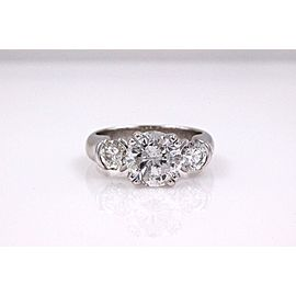 Three Stone Diamond Engagement Ring Round 2.93 tcw 18k White Gold
