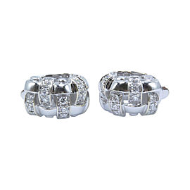 Tiffany & Co. 18K White Gold with Diamond Vannerie Basket Weave Earrings