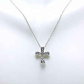 Tiffany & Co. Elsa Peretti Platinum Diamond Cross Necklace