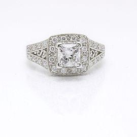 Leo Diamond Engagement Ring Princess Cut 1.32 ct GSI1 14k White Gold $12K Retail