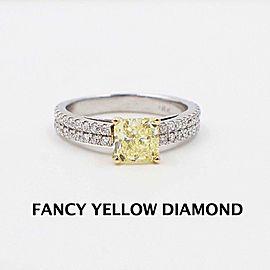 Fancy Yellow Diamond Engagement Ring 1.62 tcw Radiant Pave Diamonds