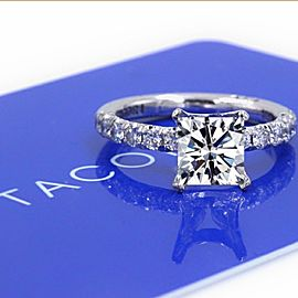 Tacori 18K White Gold Diamond Engagement Ring Size 6