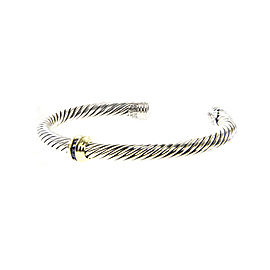 David Yurman Cable Classics Sterling Silver 14K Yellow Gold Sapphire Bracelet