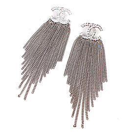 Chanel CC Silver Tone Rhinestone Earrings