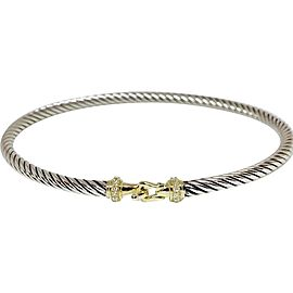 David Yurman Cable Buckle Sterling Silver 14K Yellow Gold Diamond Bracelet