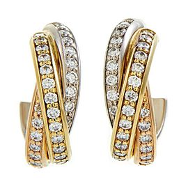 Cartier Trinity Diamond Earrings Tricolor 18k WHITE Yellow Rose Gold $11K Retail