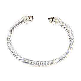 David Yurman Cable Classics Sterling Silver Smoky Quartz Diamond Bracelet