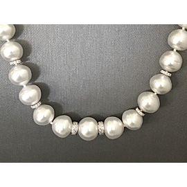 14K White Gold South Sea Cultured Pearl Diamond Necklace