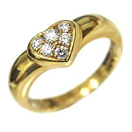 Tiffany & Co. 18K Yellow Gold Diamond Heart Ring Size 5.5