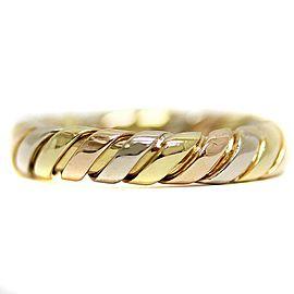 Bulgari Tubogas 18K Yellow White & Rose Gold Ring Size 4