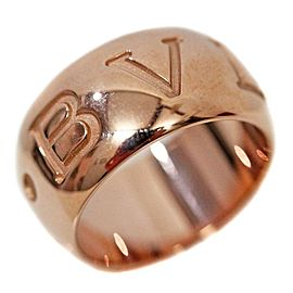 Bulgari 18K Rose Gold Monologo Ring Size 6.25
