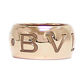 Bulgari 18K Rose Gold Monologo Ring Size 5.25