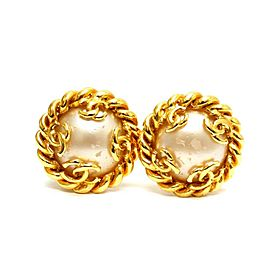 Chanel Gold Tone Glass Simulated Pearl CC Earrings