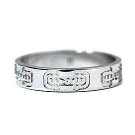 Gucci 18K White Gold Horsebit Ring Size 5.25