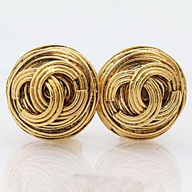 Chanel Gold Tone Vintage CC Earrings
