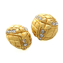Chanel Gold Tone Rhinestone Earrings