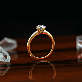 14k Rose Gold Solitaire Engagement Ring features 1.05ct Round Cut NATURAL Dia
