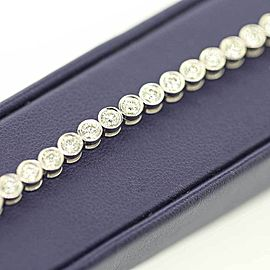 Precious 14k White Gold Tennis Bezel Bracelet With 5.00ct Diamonds