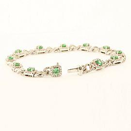 Precious18k White Gold Bracelet With 2.00ct Emeralds & 2.35ct Diamonds