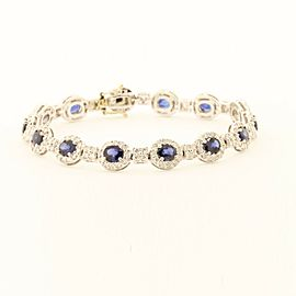 Beautiful14k White Gold Bracelet With 7.00ct Sapphires & 2.25ct Diamonds
