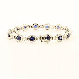 Beautiful14k White Gold Bracelet With 7.00ct Sapphires & 2.25ct Diamonds
