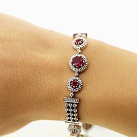 Handmade 14k White Gold Fashion Bracelet With 3.00ct Diamonds and 1.18ct Rubie