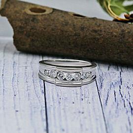 14k White Gold Mens Wedding Band Features Set 7 Round White Diamonds 1.00 TCW