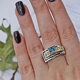 White Gold Fashion Ring Features Total of 1.50ct of Multi-shaped Multicolor DIA