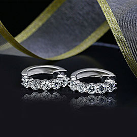 White Gold Hoops Earrings feat-s 10 Round cut Clarity Enhanced in 2.50ct TCW DIA