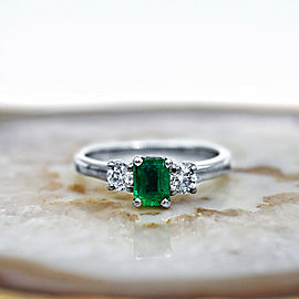 White Gold Three-Stone Ring with center 1.00ct Green Emerald and 0.50ct TCW DIA